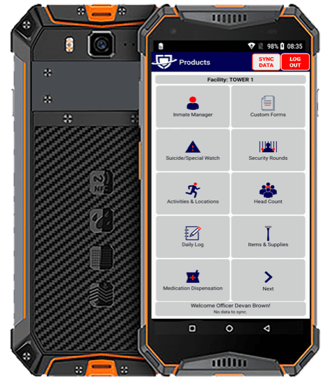 Image of Jailcore's rugged mobile app.